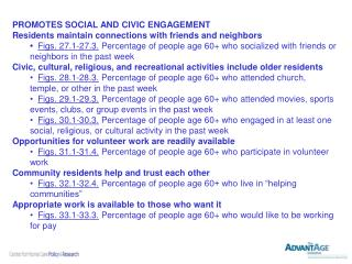 PROMOTES SOCIAL AND CIVIC ENGAGEMENT  Residents maintain connections with friends and neighbors