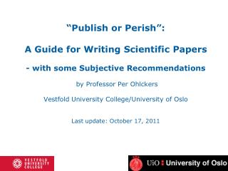 A Guide for Writing Scientific Papers