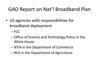 GAO Report on Nat'l Broadband Plan