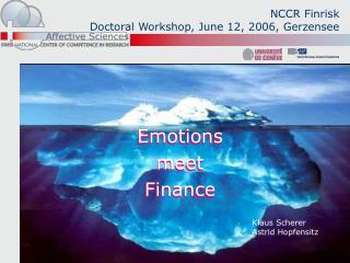 NCCR Finrisk Doctoral Workshop, June 12, 2006, Gerzensee