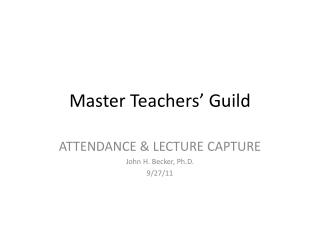 Master Teachers' Guild