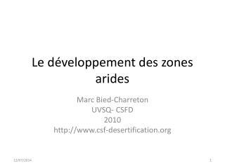 Le développement des zones arides