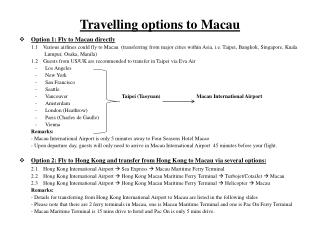 Travelling options to Macau