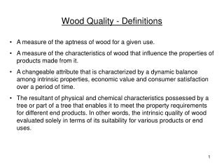 Wood Quality - Definitions
