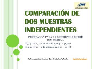 COMPARACIÓN DE DOS MUESTRAS INDEPENDIENTES