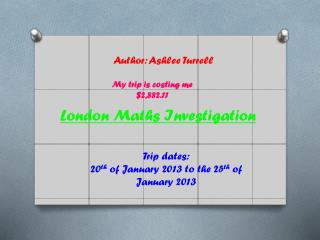 London Maths Investigation