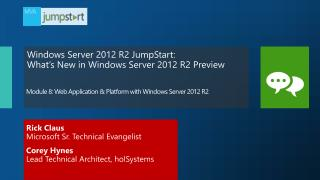 Module  8:  Web Application & Platform with Windows Server 2012  R2