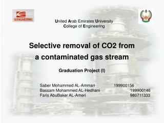 Selective removal of CO2 from  a contaminated gas stream