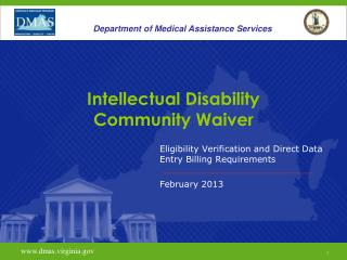 Intellectual Disability  Community Waiver