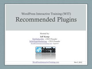 WordPress Interactive Training (WIT) Recommended Plugins