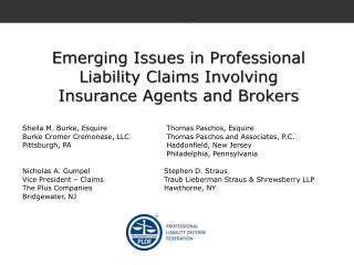 Emerging Issues in Professional Liability Claims Involving Insurance Agents and Brokers