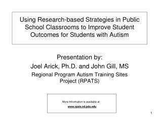 Using Research-based Strategies in Public School Classrooms to Improve Student Outcomes for Students with Autism