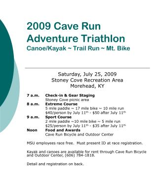 2009 Cave Run Adventure Triathlon Canoe