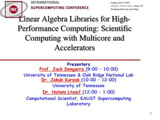 Linear Algebra Libraries for High-Performance Computing: Scientific Computing with Multicore and Accelerators