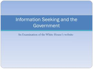 Information Seeking and the Government