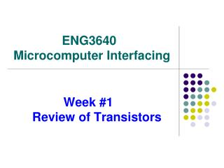 Week #1       Review of Transistors