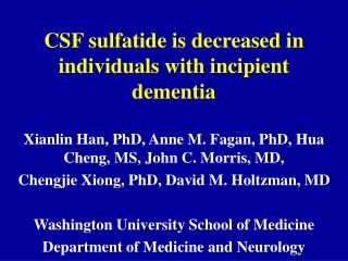 CSF sulfatide is decreased in individuals with incipient dementia