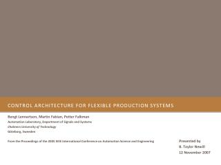 Control Architecture for Flexible Production Systems