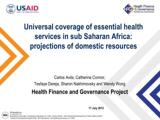 Universal coverage of essential health services in sub Saharan Africa: projections of domestic resources