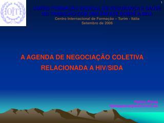 A AGENDA DE NEGOCIAÇÃO COLETIVA RELACIONADA A HIV/SIDA Fátima Pianta fatimapianta@solicomm.net