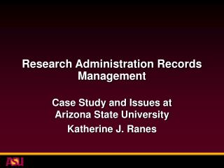 Research Administration Records Management