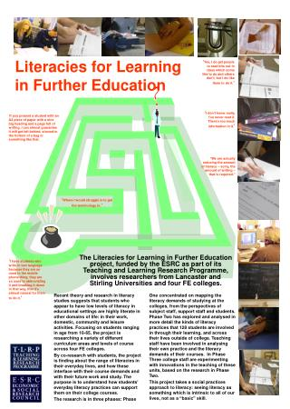 Literacies for Learning in Further Education