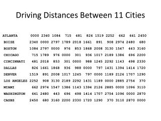 Driving Distances Between 11 Cities