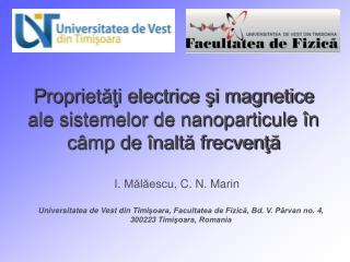 P roprietăţi electrice şi magnetice ale sistemelor de nanoparticule în câmp de înaltă frecvenţă