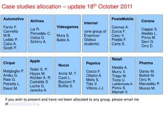 Case studies allocation – update 18 th  October 2011