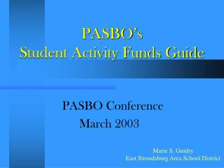 PASBO's  Student Activity Funds Guide