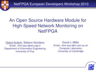 NetFPGA European Developers Workshop 2010