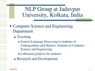 NLP Group at  Jadavpur  University, Kolkata, India
