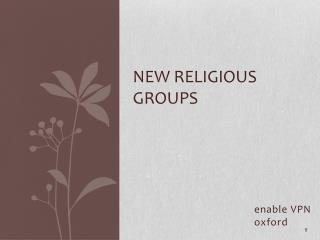 New Religious Groups