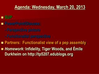 Agenda: Wednesday, March 20, 2013