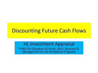 Discounting Future Cash Flows