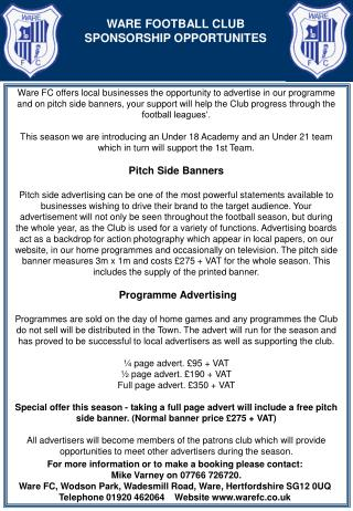 WARE FOOTBALL CLUB SPONSORSHIP OPPORTUNITES