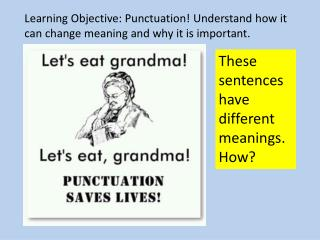 Learning Objective: Punctuation! Understand how it can change meaning and why it is important.