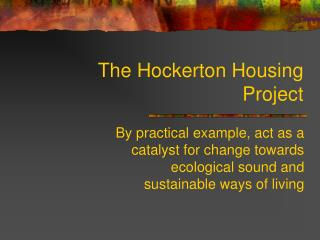 The Hockerton Housing Project
