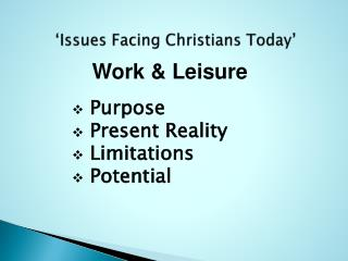 'Issues Facing Christians Today'