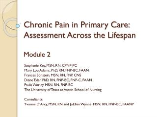 Chronic Pain in Primary Care: Assessment Across the Lifespan Module 2