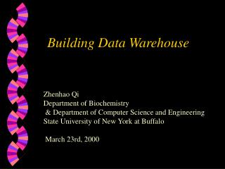 Building Data Warehouse