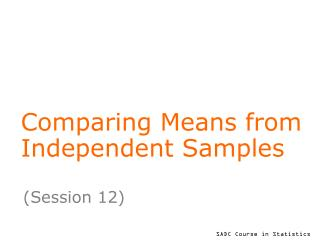 Comparing Means from Independent Samples