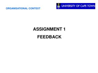 ASSIGNMENT 1 FEEDBACK