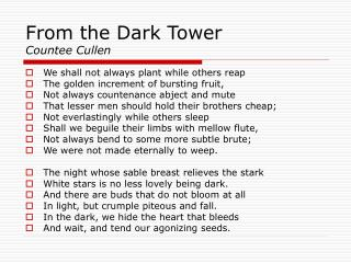 From the Dark Tower Countee Cullen