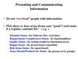 Presenting and Communicating Information