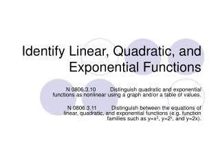 Identify Linear, Quadratic, and Exponential Functions