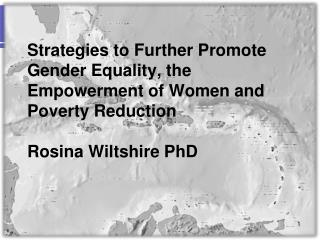 Strategies to Further Promote Gender Equality, the Empowerment of Women and Poverty Reduction  Rosina Wiltshire PhD