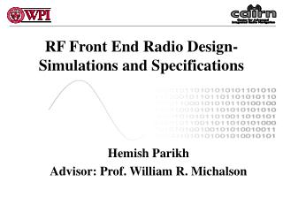 RF Front End Radio Design- Simulations and Specifications