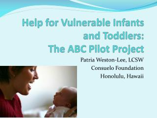 Help for Vulnerable Infants and Toddlers:  The ABC Pilot Project