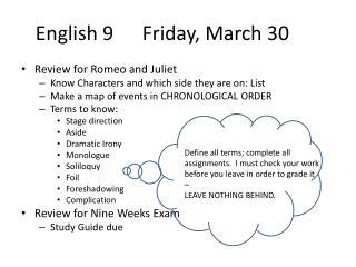 English 9Friday, March 30